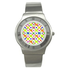 Multicolored Circles Motif Pattern Stainless Steel Watch