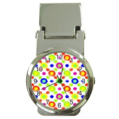 Multicolored Circles Motif Pattern Money Clip Watches