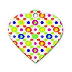 Multicolored Circles Motif Pattern Dog Tag Heart (two Sides)