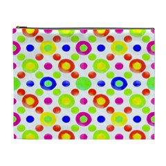 Multicolored Circles Motif Pattern Cosmetic Bag (xl)