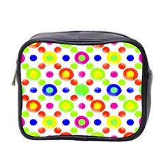 Multicolored Circles Motif Pattern Mini Toiletries Bag 2 Side