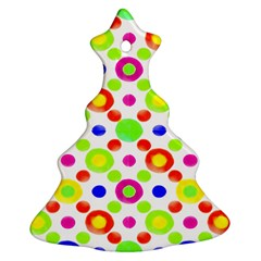 Multicolored Circles Motif Pattern Christmas Tree Ornament (two Sides)