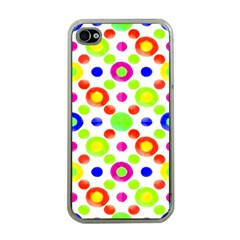 Multicolored Circles Motif Pattern Apple Iphone 4 Case (clear)