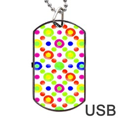 Multicolored Circles Motif Pattern Dog Tag Usb Flash (one Side)