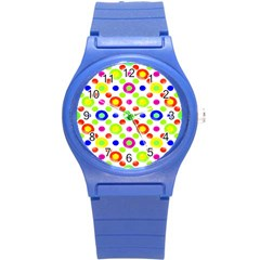 Multicolored Circles Motif Pattern Round Plastic Sport Watch (s)