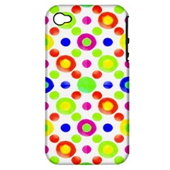 Multicolored Circles Motif Pattern Apple Iphone 4/4s Hardshell Case (pc+silicone)