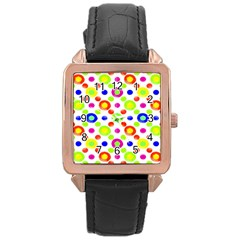 Multicolored Circles Motif Pattern Rose Gold Leather Watch