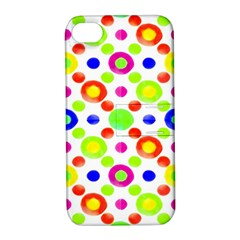 Multicolored Circles Motif Pattern Apple Iphone 4/4s Hardshell Case With Stand