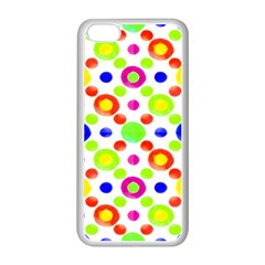 Multicolored Circles Motif Pattern Apple Iphone 5c Seamless Case (white)