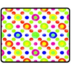 Multicolored Circles Motif Pattern Double Sided Fleece Blanket (medium)