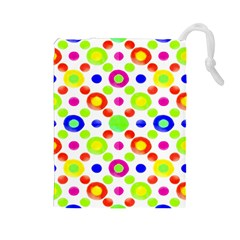 Multicolored Circles Motif Pattern Drawstring Pouches (large)