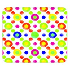 Multicolored Circles Motif Pattern Double Sided Flano Blanket (small)