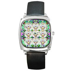 Nine Little Cartoon Dogs In The Green Grass Square Metal Watch