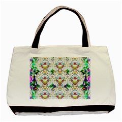 Nine Little Cartoon Dogs In The Green Grass Basic Tote Bag