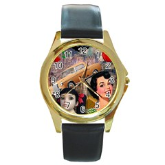 Out In The City Round Gold Metal Watch