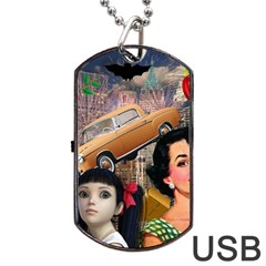 Out In The City Dog Tag Usb Flash (one Side)
