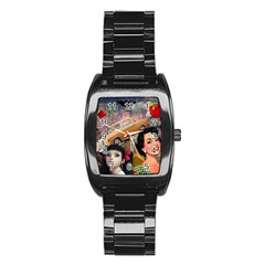 Out In The City Stainless Steel Barrel Watch