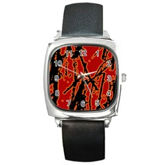 Vivid Abstract Grunge Texture Square Metal Watch