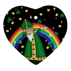 St  Patrick  Dabbing Heart Ornament (two Sides)