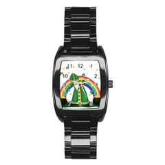 St  Patrick  Dabbing Stainless Steel Barrel Watch