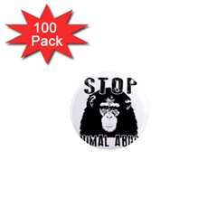 Stop Animal Abuse   Chimpanzee  1  Mini Magnets (100 Pack)