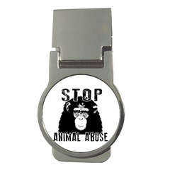 Stop Animal Abuse   Chimpanzee  Money Clips (round)