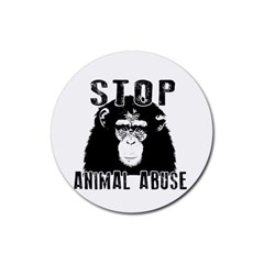 Stop Animal Abuse   Chimpanzee  Rubber Round Coaster (4 Pack)