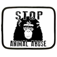 Stop Animal Abuse   Chimpanzee  Netbook Case (large)