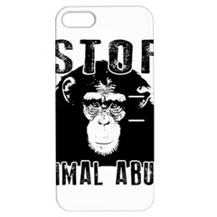 Stop Animal Abuse   Chimpanzee  Apple Iphone 5 Hardshell Case With Stand