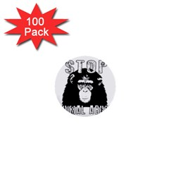 Stop Animal Abuse   Chimpanzee  1  Mini Buttons (100 Pack)