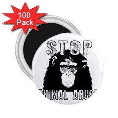 Stop Animal Abuse   Chimpanzee  2 25  Magnets (100 Pack)