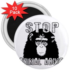 Stop Animal Abuse   Chimpanzee  3  Magnets (10 Pack)