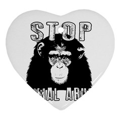 Stop Animal Abuse   Chimpanzee  Heart Ornament (two Sides)