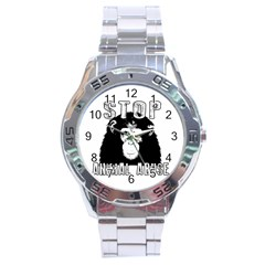Stop Animal Abuse   Chimpanzee  Stainless Steel Analogue Watch