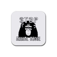 Stop Animal Abuse   Chimpanzee  Rubber Square Coaster (4 Pack)