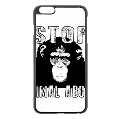 Stop Animal Abuse   Chimpanzee  Apple Iphone 6 Plus/6s Plus Black Enamel Case