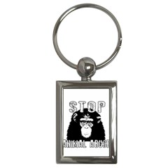 Stop Animal Abuse   Chimpanzee  Key Chains (rectangle)