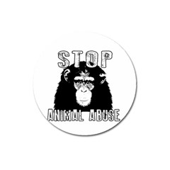 Stop Animal Abuse   Chimpanzee  Magnet 3  (round)