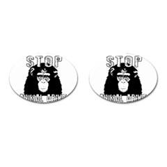 Stop Animal Abuse   Chimpanzee  Cufflinks (oval)