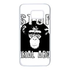 Stop Animal Abuse   Chimpanzee  Samsung Galaxy S7 White Seamless Case