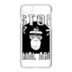 Stop Animal Abuse   Chimpanzee  Apple Iphone 7 Seamless Case (white)