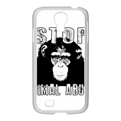 Stop Animal Abuse   Chimpanzee  Samsung Galaxy S4 I9500/ I9505 Case (white)