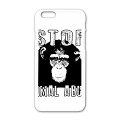 Stop Animal Abuse   Chimpanzee  Apple Iphone 6/6s White Enamel Case