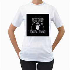 Stop Animal Abuse   Chimpanzee  Women s T Shirt (white) (two Sided)