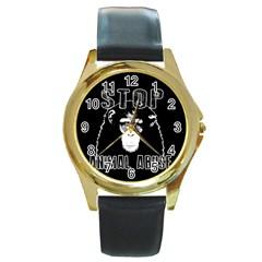 Stop Animal Abuse   Chimpanzee  Round Gold Metal Watch