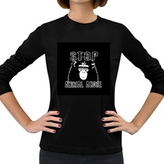 Stop Animal Abuse   Chimpanzee  Women s Long Sleeve Dark T Shirts