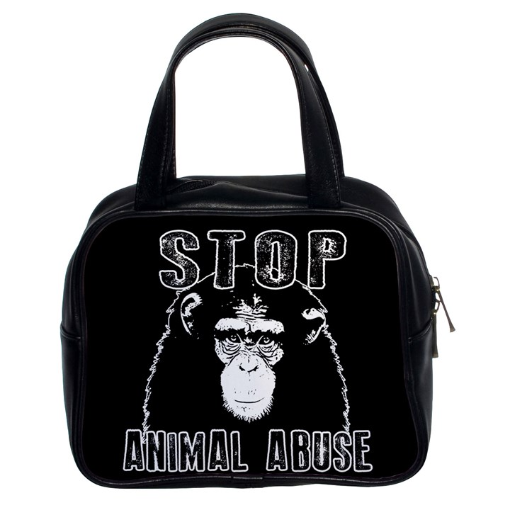 Stop Animal Abuse - Chimpanzee  Classic Handbags (2 Sides)
