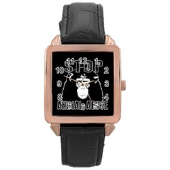 Stop Animal Abuse   Chimpanzee  Rose Gold Leather Watch