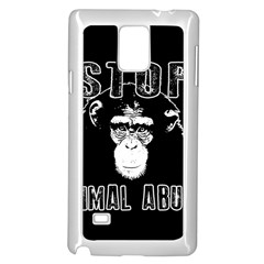 Stop Animal Abuse   Chimpanzee  Samsung Galaxy Note 4 Case (white)