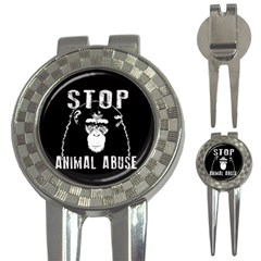 Stop Animal Abuse   Chimpanzee  3 In 1 Golf Divots